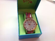 Vintage  Betsey Johnson Women's Pink and Gold Camouflage Oversized Watch