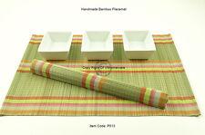 6 Manteles Individuales Hecho a mano de bambú hecha a mano Mesa esteras, Salvia Verde-Arco Iris P013