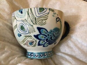 Anthropologie Dutch Wax Handpainted Peacock Feathers /Floral Ceramic Footed Mug