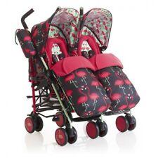 New Cosatto supa dupa double pushchair Flamingo Fling footmuffs & pvc from birth