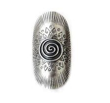 Sterling Silver Long Spiral Mandala Statement Long Ring Ethnic Tribal Gypsy Boho