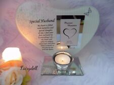 HUSBAND  GLASS VERSED PLAQUE WITH CANDLE AND PHOTO HOLDER ~ MEMORIAL REMEMBRANCE