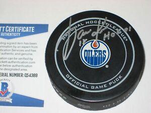 JARI KURRI Signed Edmonton OILERS Official GAME Puck w/ Beckett COA & HOF Inscr