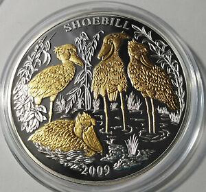 Rwanda 1000 francs 2009 Bird Heron Shoebill  Gold Silver 3 oz + diamonds  №2