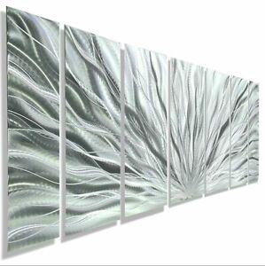 Abstract Metal Wall Art Sculpture MODERN ALL SILVER METAL ART  SIGNED Jon Allen