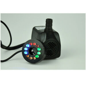 5W Powerful Water Pump with LED Light for Tank Statuary Aquarium Ponds Fountains