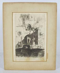 Antique 1880 George E Hopkins Etching Venice James McNeill Whistler's Friend yqz
