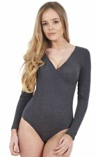 Ladies Autograph Yoga Top Long Sleeve Cashmere Leotard Stretch Bodysuit