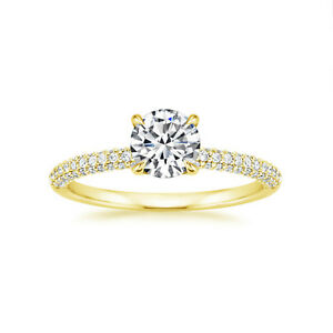 Round 0.97 Ct Lab Created Diamond Wedding Ring Solid 14K Yellow Gold Band Size N