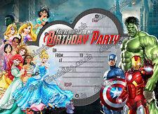 Neu Jungen Geburtstagparty Einladungen Disney Princess superheld, X 10 KARTEN