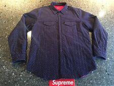 Supreme Purple Polka Dot Corduroy Quilted Shirt XL F/W 2011 box logo Jacket