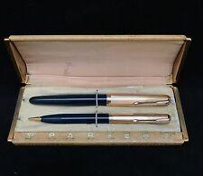 """Vintage Parker """"51"""" Blue Diamond Fountain Pen & Mechanical Pencil Gold Filled"""