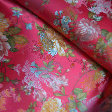 100x70cm Brocade Satin Fabric DIY Costume Hanfu Dress Flower Phoenix Rosy JN02 B
