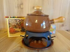 FONDUE SET WITH 6 FORKS 2 Quart Brown Porcelain Enamel Alcohol Burner Vintage