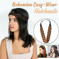 Ladies Braided Synthetic Hair Plaited Plait Elastic Headband Hairband AU