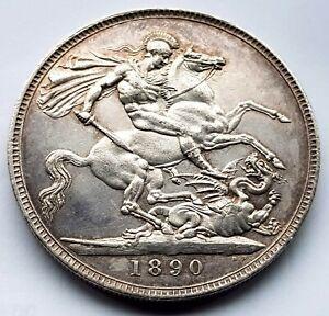 1890 Queen Victoria Jubilee Head AU Silver Crown Coin