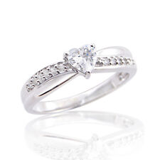 Shape Diamond Engagement Ring For Womens 14k White Gold Over Solitaire Heart