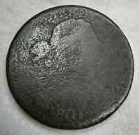 1801 Draped Bust Large Cent G Good/VG Very Good Details Corrosion EAC Nice Hair