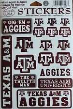 18 Texas AGGIES Stickers A&M University Decal College Football NCAA Dorm  ATM