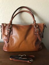 New Kattee Large Genuine Brown Pebbled Leather Satchel Shoulder Handbag Purse