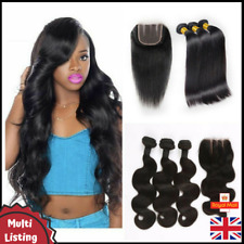 9A Peruvian Virgin Human Hair Weave Bundle Weft Extensions + Free Lace Closure