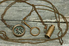 """Nautical Compass Telescope & Magnifier style Necklaces 30"""" Chain Man Lot of 3"""