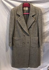 Vintage Evan Picone Gray White Lined100% Pure Wool Long Coat Size 6