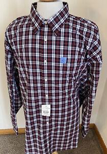 NEW Stafford Men Sz Big 19 36-37 Travel Performance Super Shirt Burgundy Plaid
