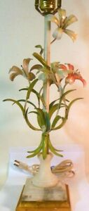 Vtg TOLE Metal LAMP  Italy LILIES FLOWERS Botanicals Marble Garden ROCOCO
