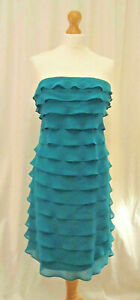 100% SILK FRILL BANDEAU DRESS IN DEEP TURQUOISE SIZE 8 - RRP £60 - New with Tags