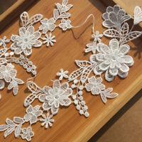 1Set Flower Embroidery Motif Lace Applique Patch DIY Trimming Y0M8 Craft