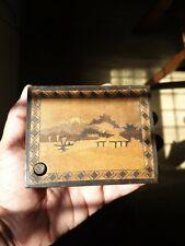 Incrustación de madera hermoso antiguo japonés Botón De Caja Puzzle Secreto Cajón Raro
