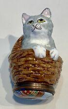 Halcyon Days Hd English Enamel Cat In a Basket Trinket Box Initials Js