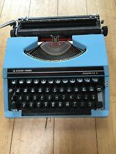 Vintage Silver Reed Silverette II Portable Typewriter Blue + Case Works Great!