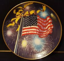 Franklin Mint Land Of The Free Home Of The Brave Fine Porcelain USA Flag Plate