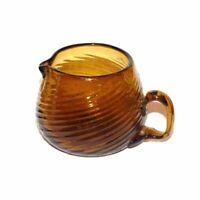 "Vintage Hand Blown Amber Glass Miniature Creamer Swirl 2 1/2"""