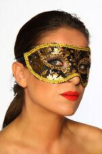 11850 Maschera del Mistero Viso Occhi Oro con Paillettes Travestimento Carnevale
