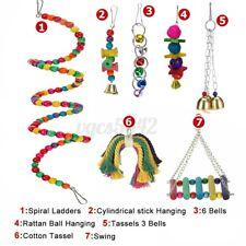 7x Parrot Hanging Swing Bird Cage Hammock Bell Toy Parakeet Cockatie Usa Usa