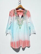 SUNDANCE CATALOG ~ Tie Dye Beaded Embroidered Hippie Bohemian Summer Dress~L