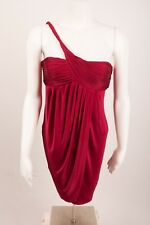BCBG MaxAzria  Women's Dress Size 4 One Shoulder Red Draped Ruched Stretch
