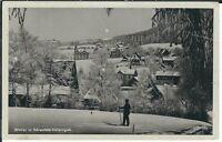 Ansichtskarte Bärenfels/Obererzgebirge - Stadtansicht im Winter - schwarz/weiß