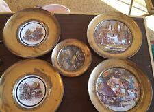 brass decorative wall plate lot (5)