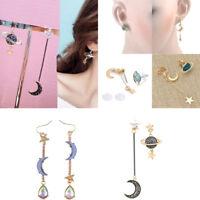 Stylish Women Star Moon Planet Drop Dangle Earrings Asymmetric Crystal Earrings