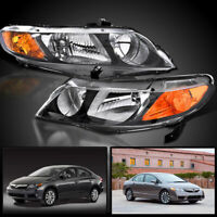 06-2011 Honda Civic 4Dr Chrome Housing Clear Headlights Lamp Left+Right Assembly