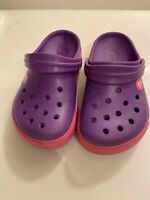 CROCS Crocband youth junior girls 1 SANDALS SHOES purple pink Clogs kids Slip-On
