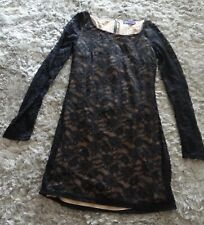AJC Black lace mini dress over beige lining, long sleeves unlined, Size 6