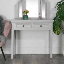 Grey painted wooden 2 draewr console dressing table bedroom hallway furniture