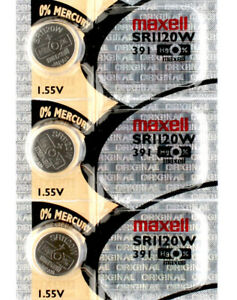 3 x Maxell 391 Watch Batteries, SR1120W Battery   Shipped from Canada