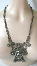 Vintage HUGE Silver Moche Necklace Pre Columbian Design Tiahuanaco Jewels Co
