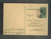 1940 Monor Ghetto Hungary Postcard Cover to Budapest KZ Judaica Pol Kerpel